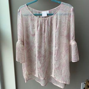 Lauren Conrad paisley boho pink top size XL